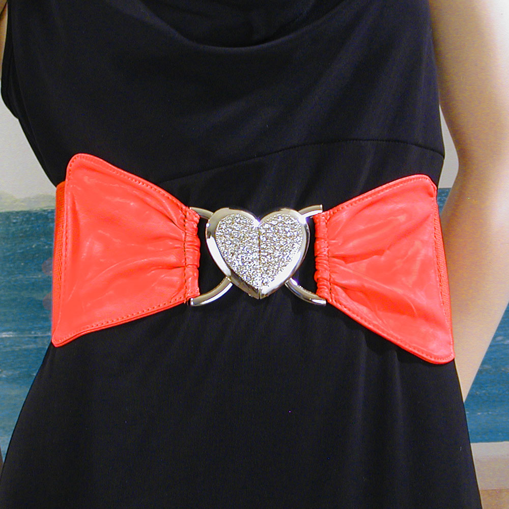 coral wide elastic belt with metal and rhinestone clasp