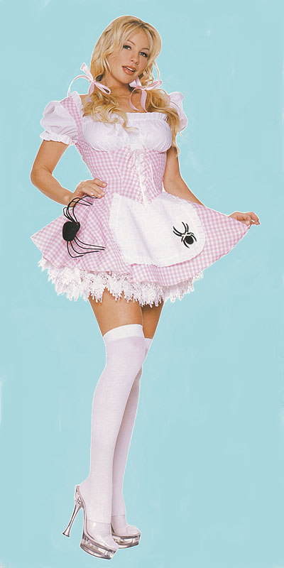 Little Miss Muffet Costume with Spider on Apron, a fashion accessorie - Evening Elegance
