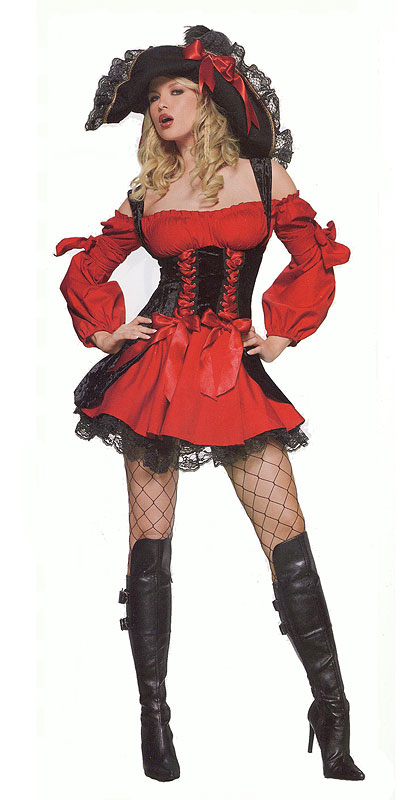 Vixen Pirate Wench Costume in Red and Black, a fashion accessorie - Evening Elegance
