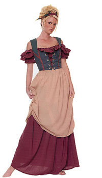 Renaissance Lady Costume with Headband and Apron