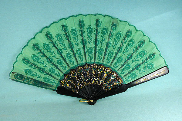 Fabric Fan  with Embossed Design for Costumes, a fashion accessories - Evening Elegance