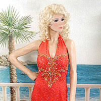 formal and party fashions, many with sequins and beads