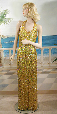 Gold sequind halter dress