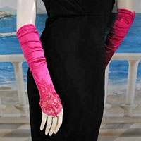 satin, beaded and lace gloves in fingered and fingerless styles