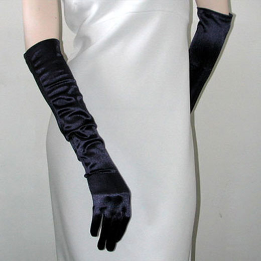 Above the Elbow Satin Stretch Gloves, a fashion accessorie - Evening Elegance