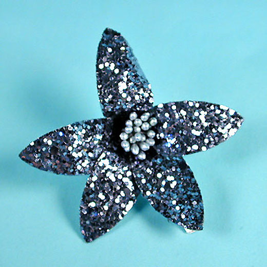 Glitter Flower Hair Clips with Wired Petals, a fashion accessories from Evening Elegance