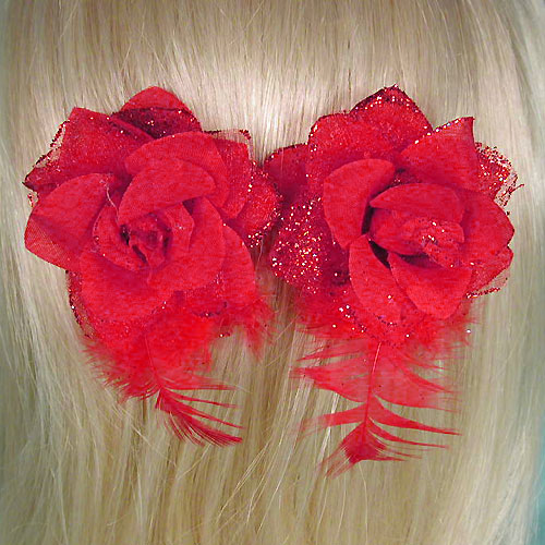 Set of Two Flower Clips, a fashion accessories from Evening Elegance