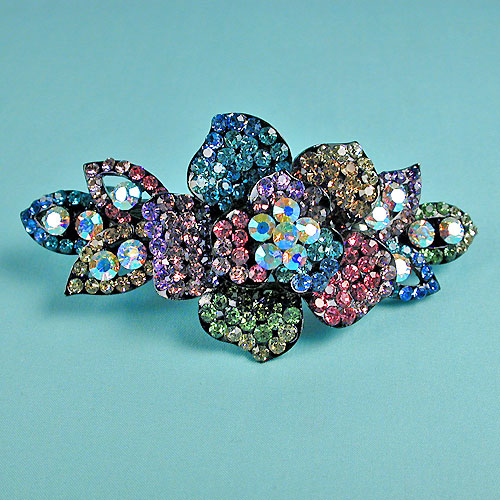 Multicolored Rhinestone Flower Barrette, a fashion accessorie - Evening Elegance