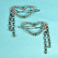 Set of 2Two Crystal Rhinestone Heart Barrettes