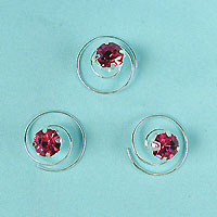 Set of Three Crystal Rhinestone Spirals