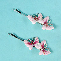 Two Enamel Butterfly Bobby Pins