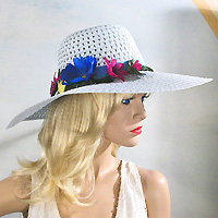 Ice Blue Hat with Multicolored Flowers