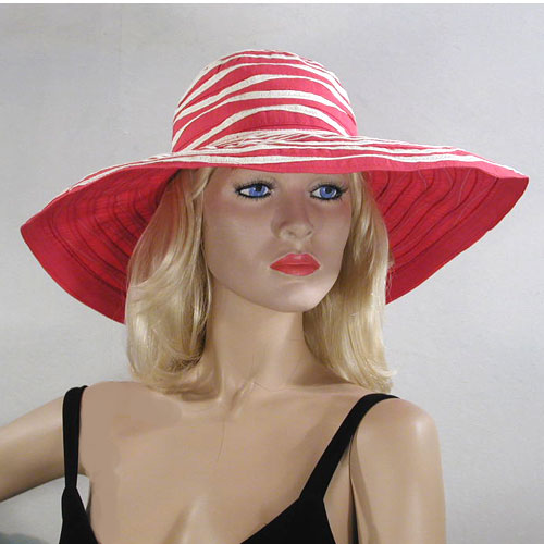 Fabric Striped Sun Hat with Shaping Wire, a fashion accessorie - Evening Elegance
