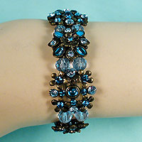 Silver Look Beaded Bracelet with Crystal Rhinestones