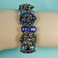 Light and Dark Rhinestones and Beads Bracelet