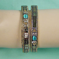 Set of Two Bangle Bracelets with Stones
