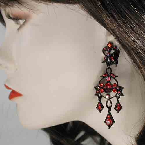 Large Chandelier Clip Earrings, a fashion accessories from Evening Elegance