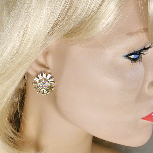 Starburst Clip Earrings in Crystal Rhinestones, a fashion accessories from Evening Elegance