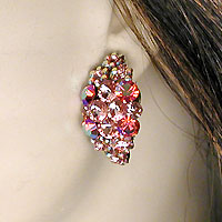 Crystal Rhinestone Pink Hoop Clip Earrings