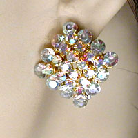 Crystal Iridescent Clip Earrings