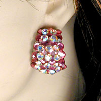 Half Hoop Crystal Rhinestone Clip Earrings