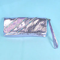 Metallic Faux Leather Purse with Sequins and Glitter