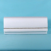 Long clutch with rhinestone trim