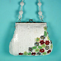 Small White Sequined Evening Bag