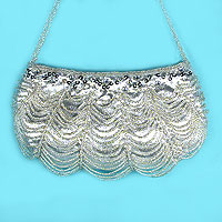 Beaded satin purse
