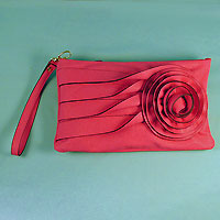 Faux Leather Envelope with Flower