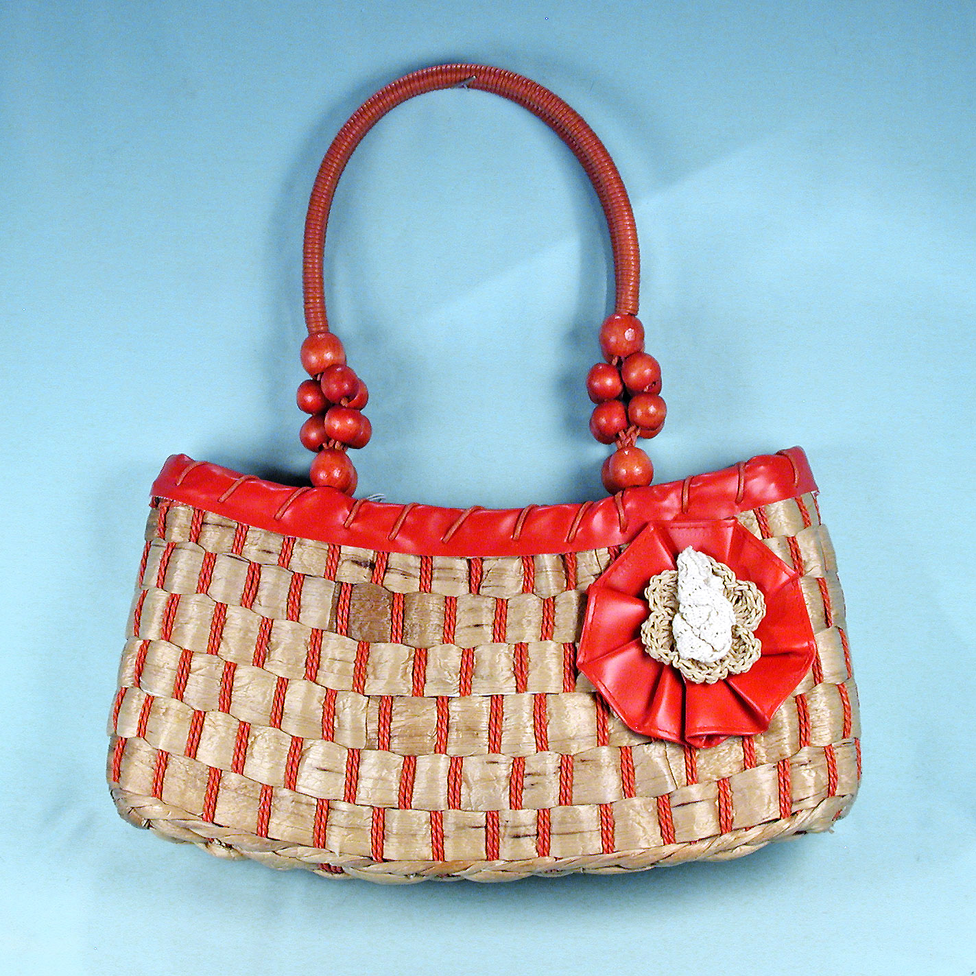 Large Straw Bag with Colored Trim