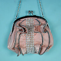 Zipper Trimmed Rhinestone Purse