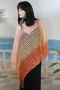 Asymmetrical Poncho with Metallic Threads
