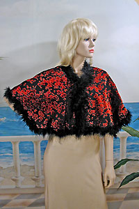 Velvet capelet with marabou trim