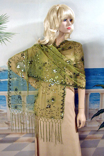 Sheer sequined embroidered oblong shawl, a fashion accessories from Evening Elegance