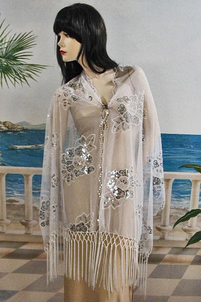 Long Sheer Embroidery Sequin Shawl Wrap Scarf Evening Prom