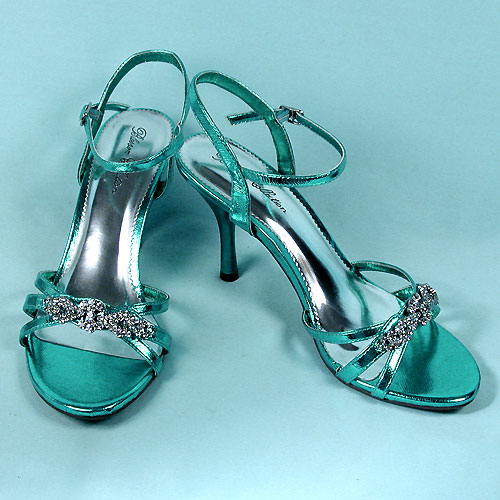Bright Colored Shoe with Rhinestone Decoration, a fashion accessorie - Evening Elegance