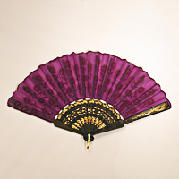 Flocked Fabric Fan for Dancing and Costumes