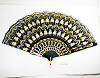 Black Fan with White Design Outlined in Gold Glitter