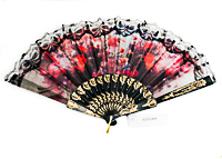 Black Lace Trimmed Fan with Watercolor Design
