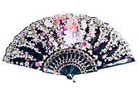 Glitter Fan in Several Colors with Flower Design