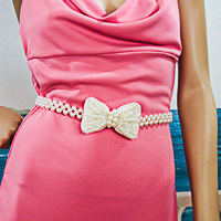 Pearl Belt with Three Rows and Bow Clasp