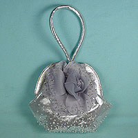 Pleated Sequined Round Evening Bag with Matching Handle
