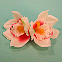Double Orchid Flower Hair Clips