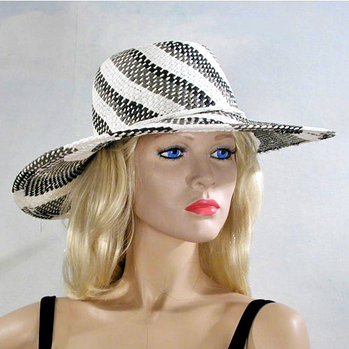 Stripped Sun Hat in a Swirled Design, a fashion accessorie - Evening Elegance