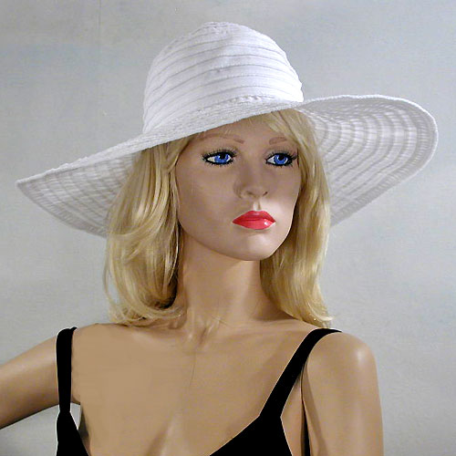 White Fabric Hat Sewn in Concentric Circles, a fashion accessorie - Evening Elegance