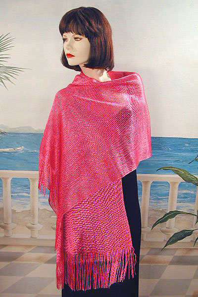 Stretchy Shawl with Metallic Threads, a fashion accessorie - Evening Elegance