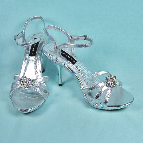 High Heel Shoes with Large Rhinestone Ornament, a fashion accessorie - Evening Elegance