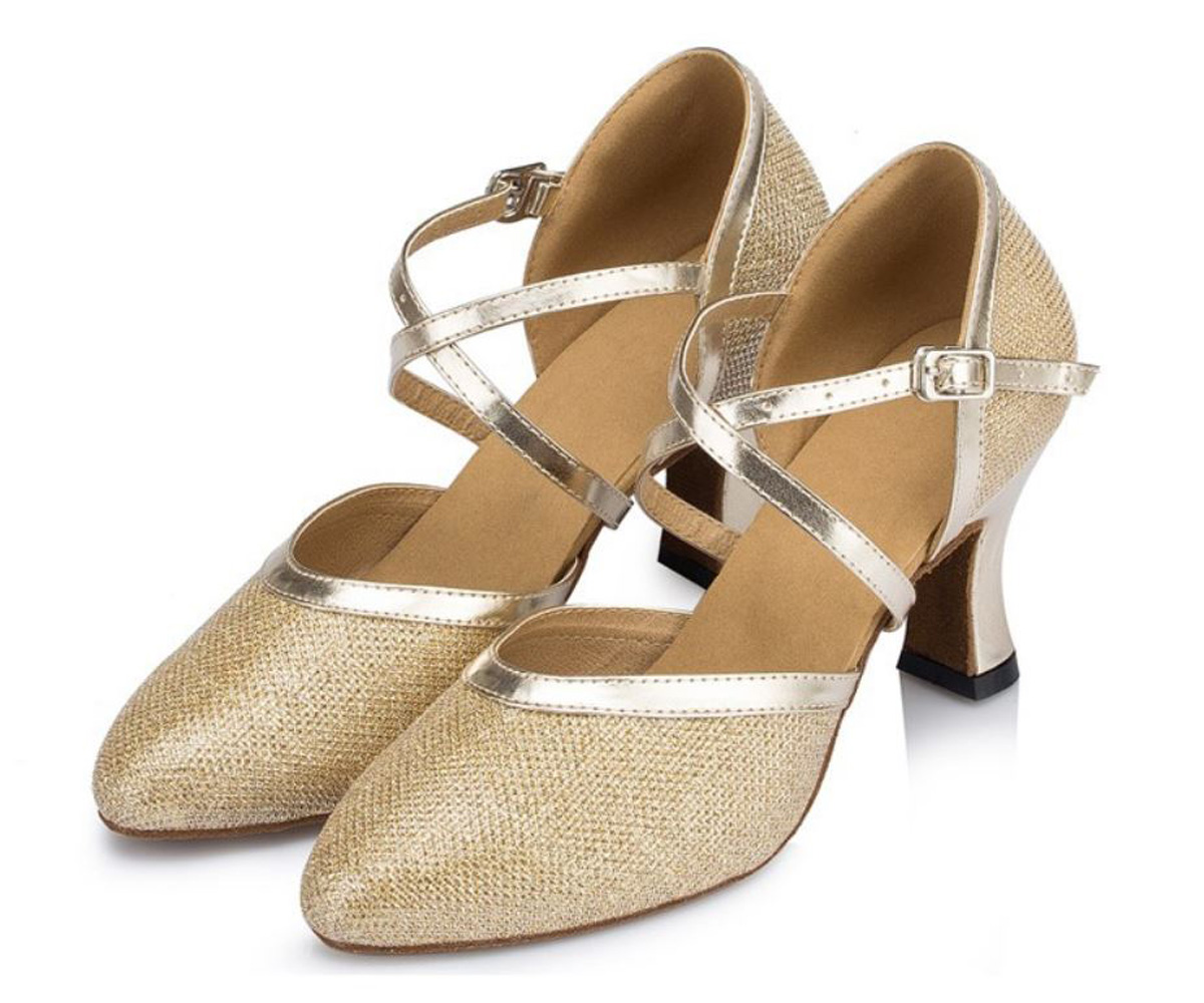 Closed Toe Sparkly Mesh Metallic Ballroom, Tango, Latin Dance Shoes, a fashion accessorie - Evening Elegance